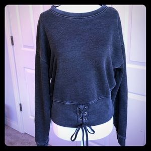American Eagle Gray Cropped Lace-up Sweatshirt